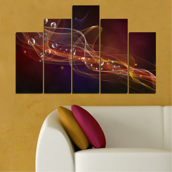 Canvas prints & wall decorative panels - 5 pieces №0703 » Red, Brown, Black, Dark grey » Abstraction, 3d, Light, Artistic, Vivid Form #5