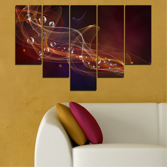 Canvas prints & wall decorative panels - 5 pieces №0703 » Red, Brown, Black, Dark grey » Abstraction, 3d, Light, Artistic, Vivid Form #6