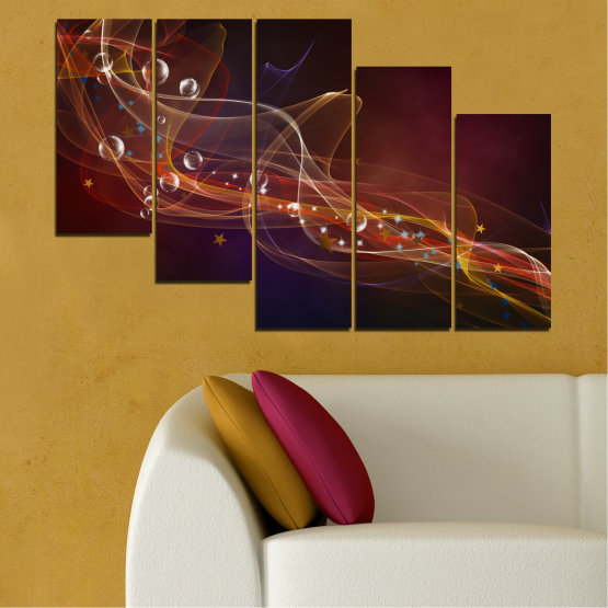 Canvas prints & wall decorative panels - 5 pieces №0703 » Red, Brown, Black, Dark grey » Abstraction, 3d, Light, Artistic, Vivid Form #7