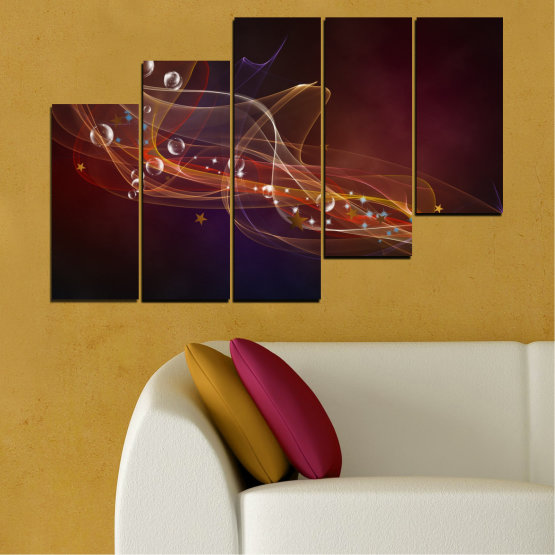 Canvas prints & wall decorative panels - 5 pieces №0703 » Red, Brown, Black, Dark grey » Abstraction, 3d, Light, Artistic, Vivid Form #8