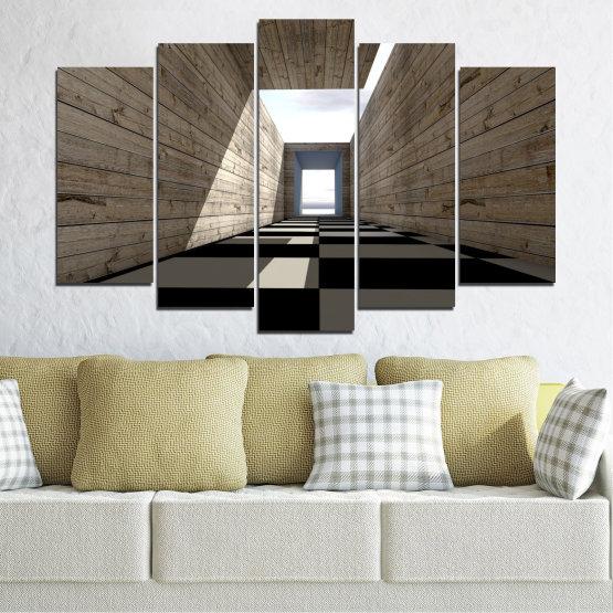 Εκτύπωση σε καμβά και διακοσμητικά πάνελ τοίχου - 5 τεμάχια №0704 » Καστανός, Μαύρος, Γκρί, Άσπρο, Σκούρο γκρι » Σπίτι, Αρχιτεκτονική, Κτίριο, Τείχος, Δομή, Κατασκευή Form #1