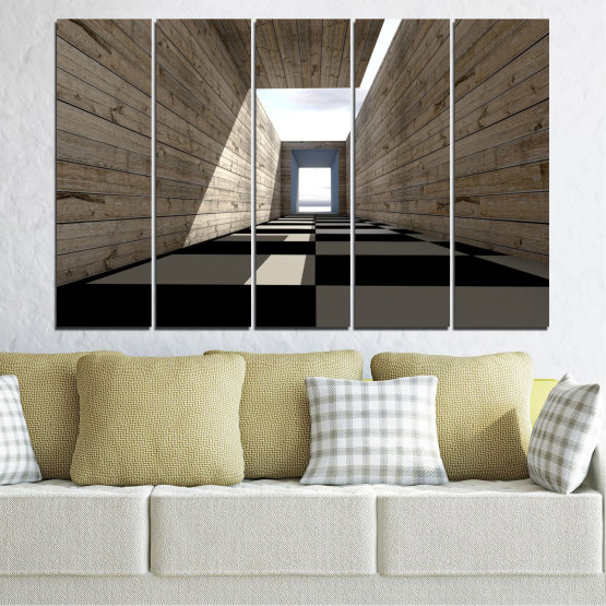 Canvas prints & wall decorative panels - 5 pieces №0704 » Brown, Black, Gray, White, Dark grey » House, Architecture, Building, Wall, Structure, Construction Form #2