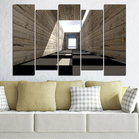 Canvas prints & wall decorative panels - 5 pieces №0704 » Brown, Black, Gray, White, Dark grey » House, Architecture, Building, Structure, Wall, Construction Form #3