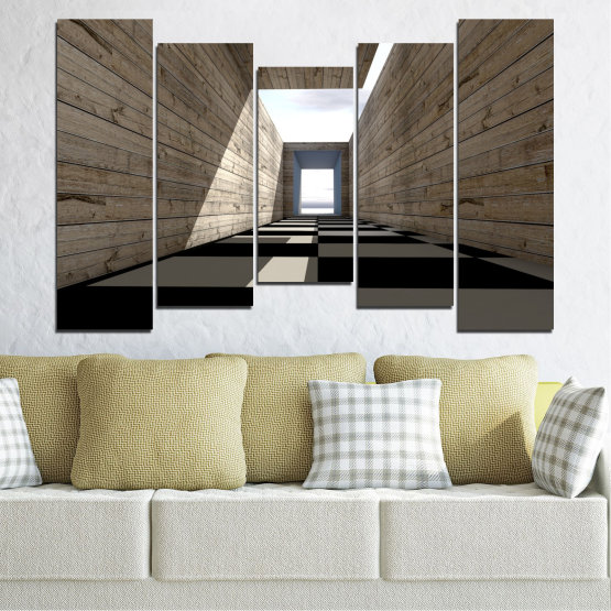 Canvas prints & wall decorative panels - 5 pieces №0704 » Brown, Black, Gray, White, Dark grey » House, Architecture, Building, Structure, Wall, Construction Form #4