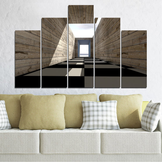 Canvas prints & wall decorative panels - 5 pieces №0704 » Brown, Black, Gray, White, Dark grey » House, Architecture, Building, Structure, Wall, Construction Form #5