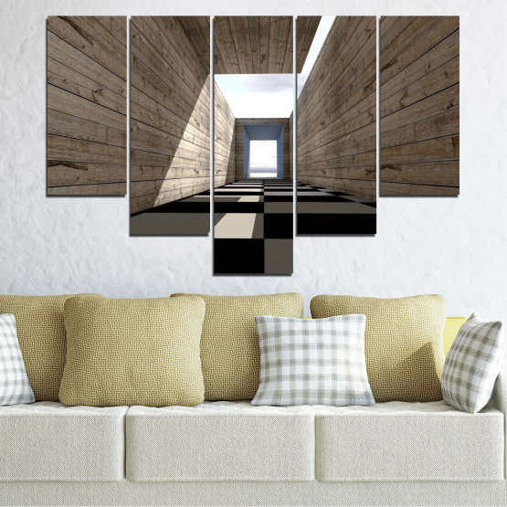 Canvas prints & wall decorative panels - 5 pieces №0704 » Brown, Black, Gray, White, Dark grey » House, Architecture, Building, Wall, Structure, Construction Form #6