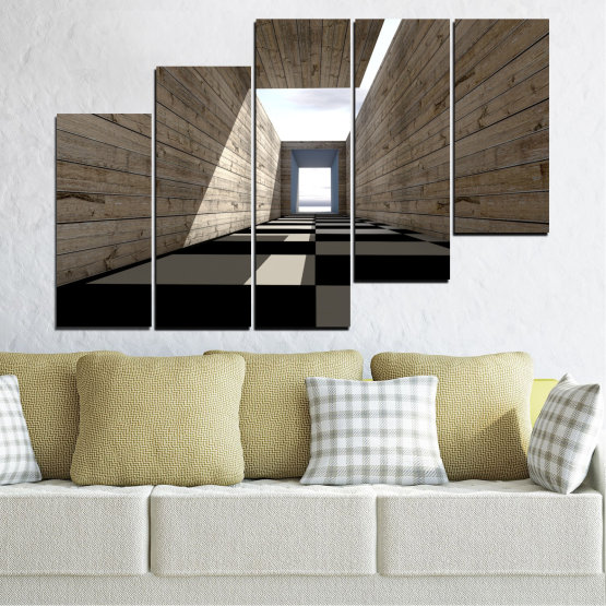 Canvas prints & wall decorative panels - 5 pieces №0704 » Brown, Black, Gray, White, Dark grey » House, Architecture, Building, Wall, Structure, Construction Form #8