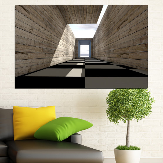 Canvas prints & wall decorative panels - 1 piece №0704 » Brown, Black, Gray, White, Dark grey » House, Architecture, Building, Wall, Structure, Construction Form #1