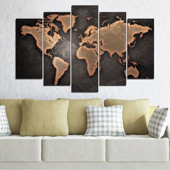 Canvas prints & wall decorative panels - 5 pieces №0705 » Orange, Brown, Black, Gray, Dark grey » Geography, Earth, Map, Europe, World, Atlas, Global Form #1