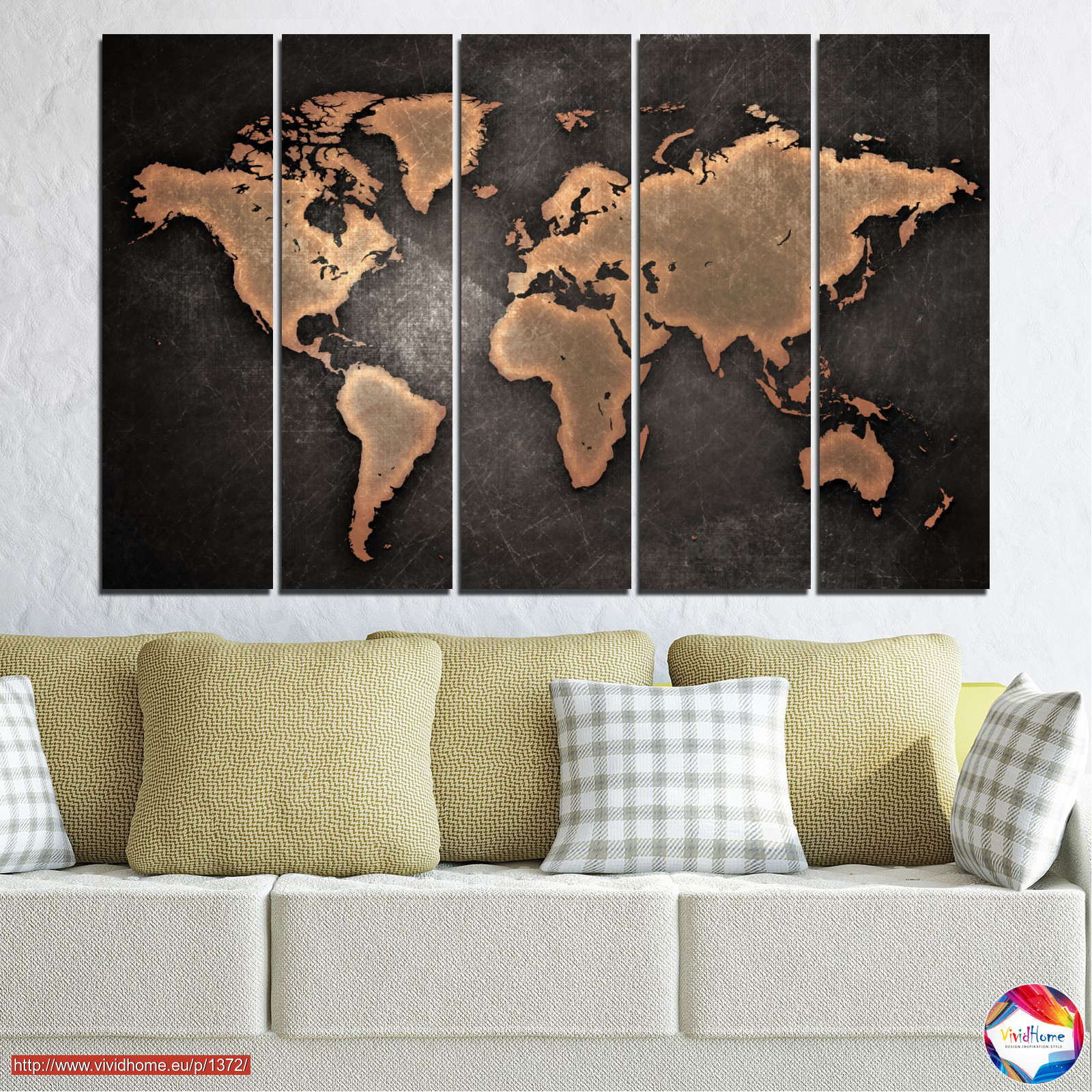 Geography earth map europe world global atlas 0705 canvas prints wall decorative panels 5 pieces 0705 orange brown gumiabroncs Images