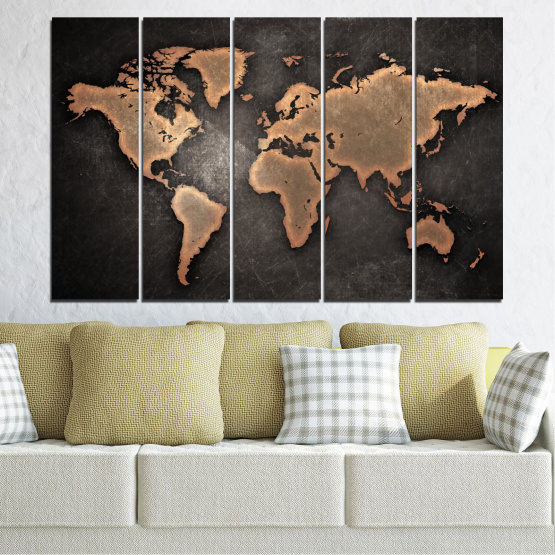 Canvas prints & wall decorative panels - 5 pieces №0705 » Orange, Brown, Black, Gray, Dark grey » Geography, Earth, Map, Europe, World, Atlas, Global Form #2