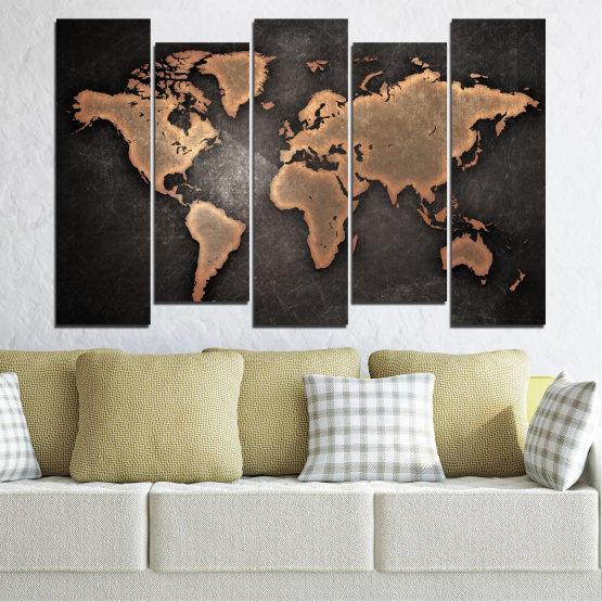 Canvas prints & wall decorative panels - 5 pieces №0705 » Orange, Brown, Black, Gray, Dark grey » Geography, Earth, Map, Europe, World, Atlas, Global Form #3