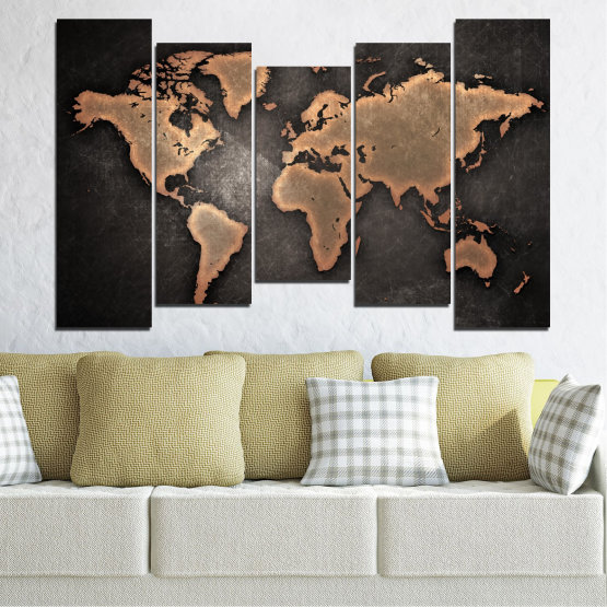 Canvas prints & wall decorative panels - 5 pieces №0705 » Orange, Brown, Black, Gray, Dark grey » Geography, Earth, Map, Europe, World, Atlas, Global Form #4