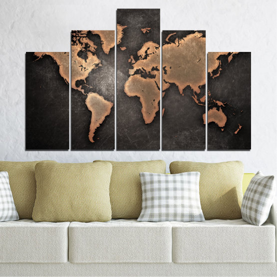 Canvas prints & wall decorative panels - 5 pieces №0705 » Orange, Brown, Black, Gray, Dark grey » Geography, Earth, Map, Europe, World, Atlas, Global Form #5