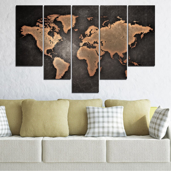 Canvas prints & wall decorative panels - 5 pieces №0705 » Orange, Brown, Black, Gray, Dark grey » Geography, Earth, Map, Europe, World, Atlas, Global Form #6