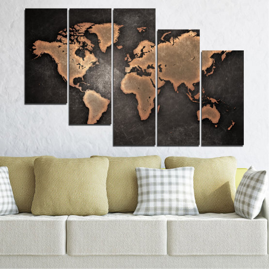 Canvas prints & wall decorative panels - 5 pieces №0705 » Orange, Brown, Black, Gray, Dark grey » Geography, Earth, Map, Europe, World, Atlas, Global Form #7