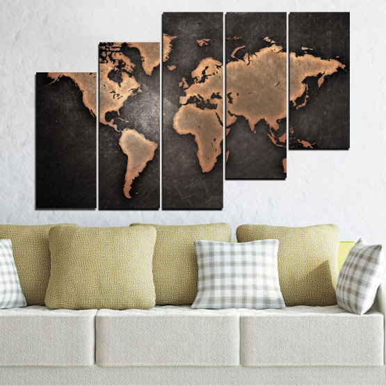 Canvas prints & wall decorative panels - 5 pieces №0705 » Orange, Brown, Black, Gray, Dark grey » Geography, Earth, Map, Europe, World, Atlas, Global Form #8