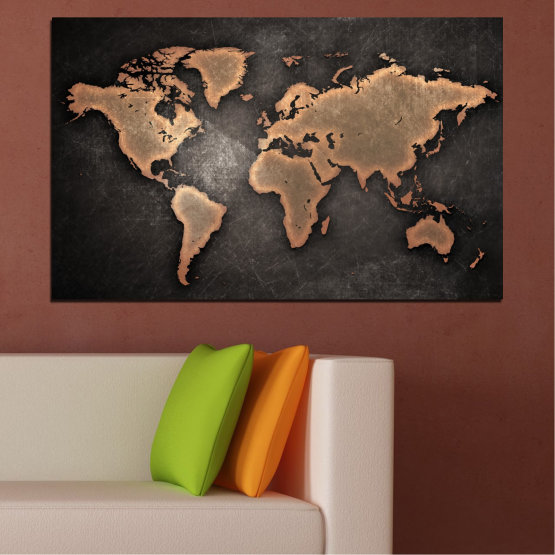 Canvas prints & wall decorative panels - 1 piece №0705 » Orange, Brown, Black, Gray, Dark grey » Geography, Earth, Map, Europe, World, Global, Atlas Form #1