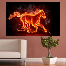 Horse, Fire, Smoke, Light, Orange, Flame, Plasma, Burn, Inferno, Flammable, Hot » Red, Orange, Black