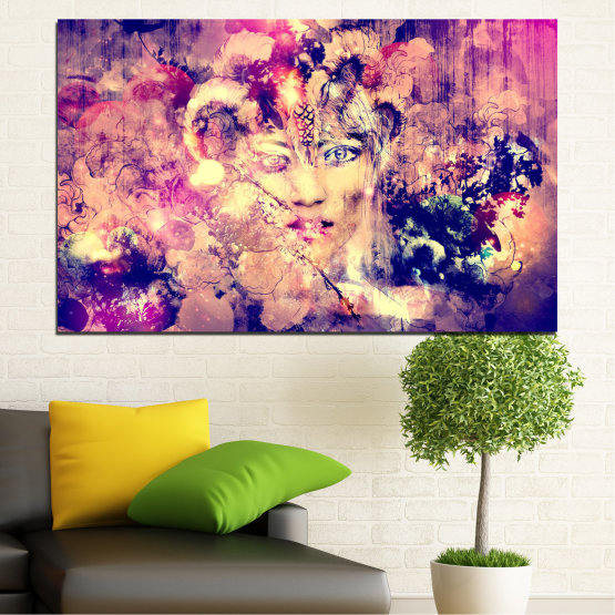 Canvas prints & wall decorative panels - 1 piece №0707 » Pink, Purple, Beige, Milky pink » Abstraction, Art, Human, People Form #1
