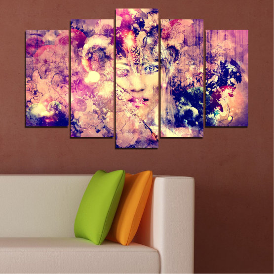 Canvas prints & wall decorative panels - 5 pieces №0707 » Pink, Purple, Beige, Milky pink » Abstraction, Art, Human, People Form #1