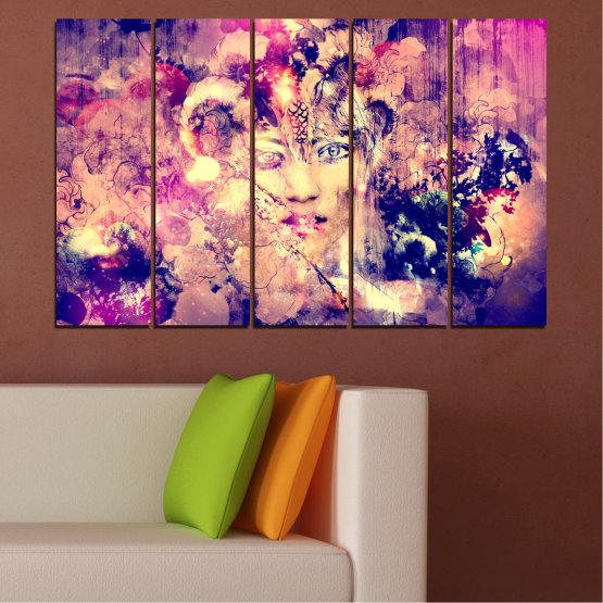 Canvas prints & wall decorative panels - 5 pieces №0707 » Pink, Purple, Beige, Milky pink » Abstraction, Art, Human, People Form #2