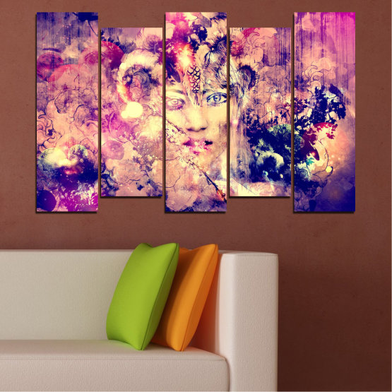 Canvas prints & wall decorative panels - 5 pieces №0707 » Pink, Purple, Beige, Milky pink » Abstraction, Art, Human, People Form #3