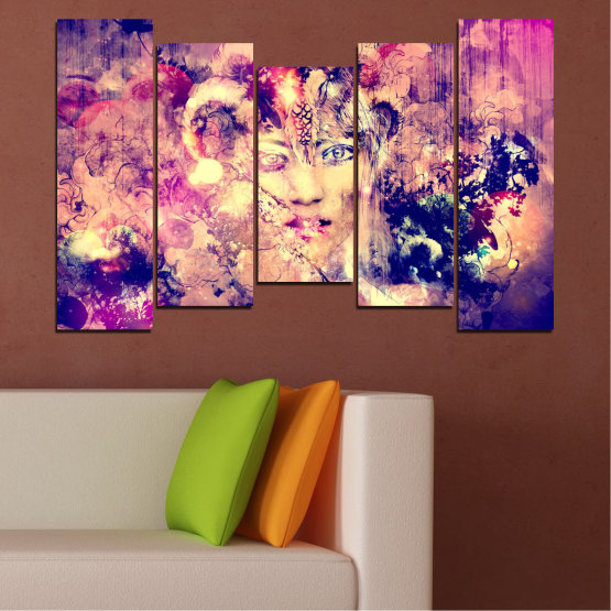 Canvas prints & wall decorative panels - 5 pieces №0707 » Pink, Purple, Beige, Milky pink » Abstraction, Art, Human, People Form #4