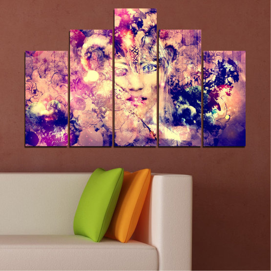Canvas prints & wall decorative panels - 5 pieces №0707 » Pink, Purple, Beige, Milky pink » Abstraction, Art, Human, People Form #5