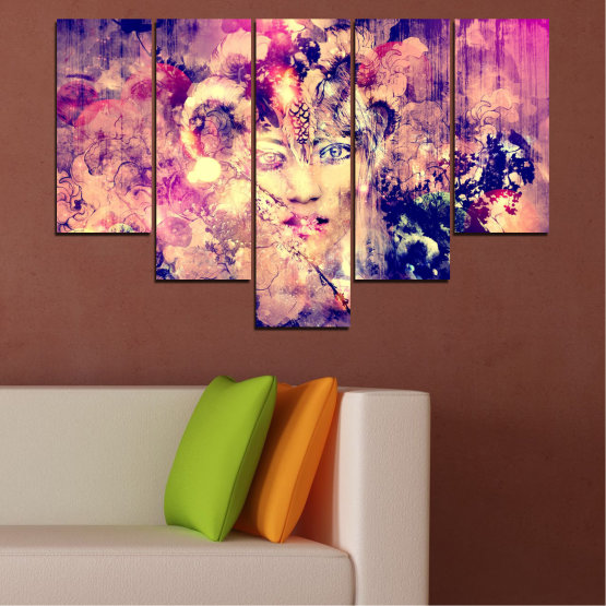 Canvas prints & wall decorative panels - 5 pieces №0707 » Pink, Purple, Beige, Milky pink » Abstraction, Art, Human, People Form #6