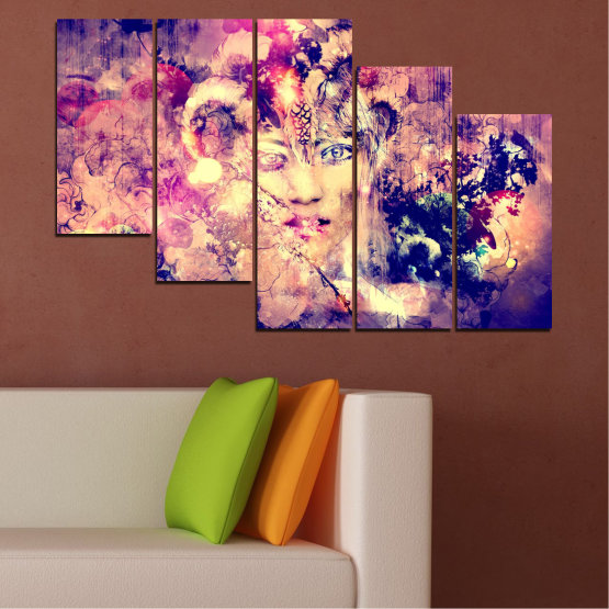 Canvas prints & wall decorative panels - 5 pieces №0707 » Pink, Purple, Beige, Milky pink » Abstraction, Art, Human, People Form #7