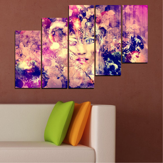 Canvas prints & wall decorative panels - 5 pieces №0707 » Pink, Purple, Beige, Milky pink » Abstraction, Art, Human, People Form #8