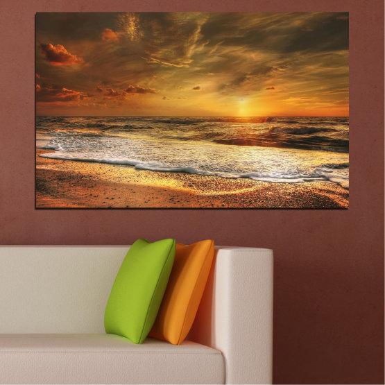 Εκτύπωση σε καμβά και διακοσμητικά πάνελ τοίχου - 1 τεμάχιο №0708 » Πορτοκάλι, Καστανός, Μπεζ, Σκούρο γκρι » Τοπίο, Ηλιοβασίλεμα, Θάλασσα Form #1