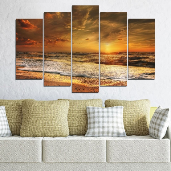 Canvas prints & wall decorative panels - 5 pieces №0708 » Orange, Brown, Beige, Dark grey » Landscape, Sunset, Sea Form #1