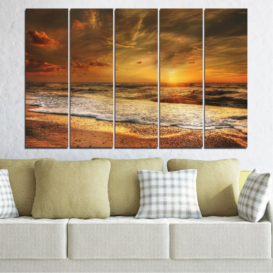 Canvas prints & wall decorative panels - 5 pieces №0708 » Orange, Brown, Beige, Dark grey » Landscape, Sunset, Sea Form #2