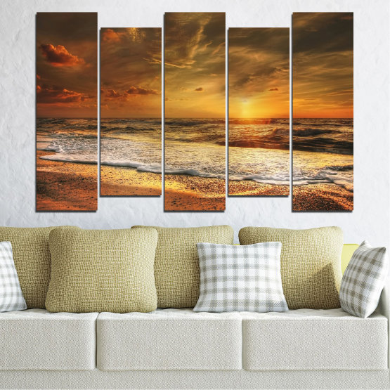 Canvas prints & wall decorative panels - 5 pieces №0708 » Orange, Brown, Beige, Dark grey » Landscape, Sunset, Sea Form #3