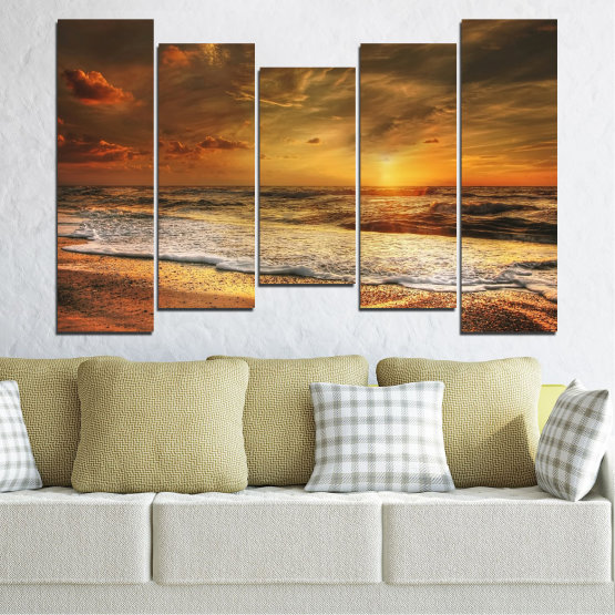 Canvas prints & wall decorative panels - 5 pieces №0708 » Orange, Brown, Beige, Dark grey » Landscape, Sunset, Sea Form #4