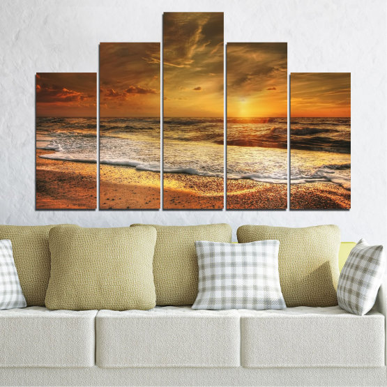 Canvas prints & wall decorative panels - 5 pieces №0708 » Orange, Brown, Beige, Dark grey » Landscape, Sunset, Sea Form #5