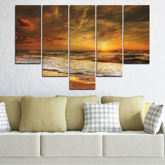 Canvas prints & wall decorative panels - 5 pieces №0708 » Orange, Brown, Beige, Dark grey » Landscape, Sunset, Sea Form #6