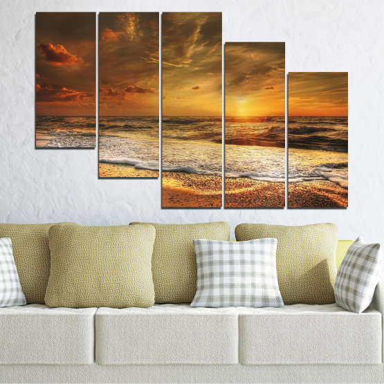 Canvas prints & wall decorative panels - 5 pieces №0708 » Orange, Brown, Beige, Dark grey » Landscape, Sunset, Sea Form #7