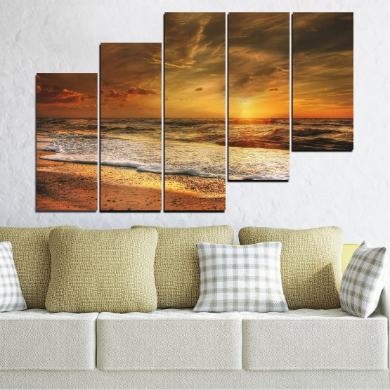 Canvas prints & wall decorative panels - 5 pieces №0708 » Orange, Brown, Beige, Dark grey » Landscape, Sunset, Sea Form #8