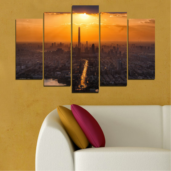 Canvas prints & wall decorative panels - 5 pieces №0709 » Orange, Brown, Black, Dark grey » Landscape, City, Sky, Panorama, Skyscraper, Architecture, Cityscape, Clouds, Building, Town, Tower Form #1