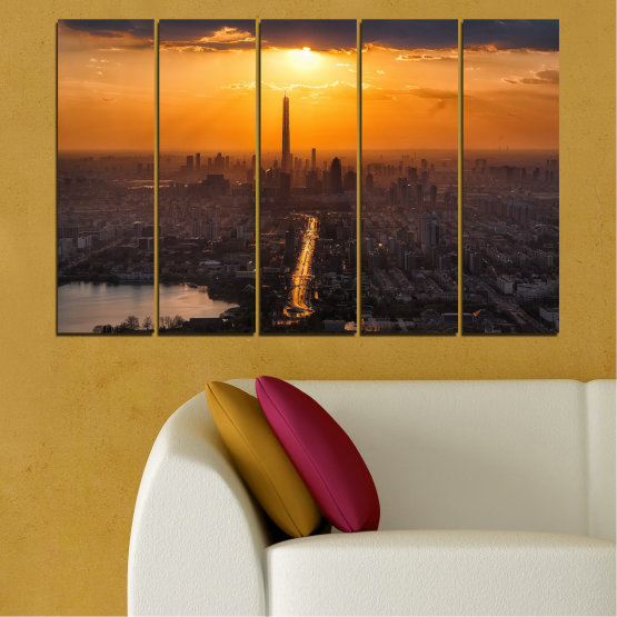 Canvas prints & wall decorative panels - 5 pieces №0709 » Orange, Brown, Black, Dark grey » Landscape, City, Sky, Panorama, Skyscraper, Architecture, Cityscape, Clouds, Building, Town, Tower Form #2