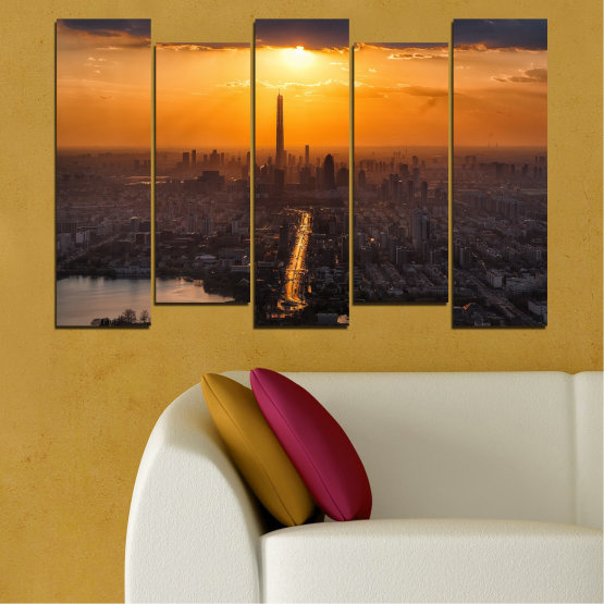 Canvas prints & wall decorative panels - 5 pieces №0709 » Orange, Brown, Black, Dark grey » Landscape, City, Sky, Panorama, Skyscraper, Architecture, Cityscape, Clouds, Building, Town, Tower Form #3