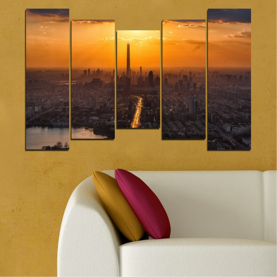 Canvas prints & wall decorative panels - 5 pieces №0709 » Orange, Brown, Black, Dark grey » Landscape, City, Sky, Panorama, Skyscraper, Architecture, Cityscape, Clouds, Building, Town, Tower Form #4