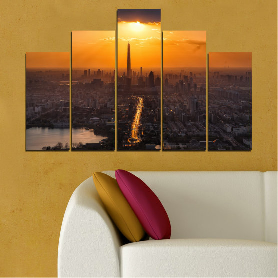 Canvas prints & wall decorative panels - 5 pieces №0709 » Orange, Brown, Black, Dark grey » Landscape, City, Sky, Panorama, Skyscraper, Architecture, Cityscape, Clouds, Building, Town, Tower Form #5