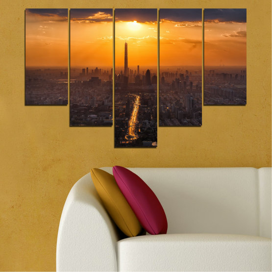 Canvas prints & wall decorative panels - 5 pieces №0709 » Orange, Brown, Black, Dark grey » Landscape, City, Sky, Panorama, Skyscraper, Architecture, Cityscape, Clouds, Building, Town, Tower Form #6