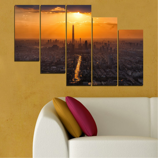 Canvas prints & wall decorative panels - 5 pieces №0709 » Orange, Brown, Black, Dark grey » Landscape, City, Sky, Panorama, Skyscraper, Architecture, Cityscape, Clouds, Building, Town, Tower Form #7
