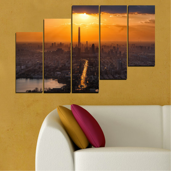 Canvas prints & wall decorative panels - 5 pieces №0709 » Orange, Brown, Black, Dark grey » Landscape, City, Sky, Panorama, Skyscraper, Architecture, Cityscape, Clouds, Building, Town, Tower Form #8