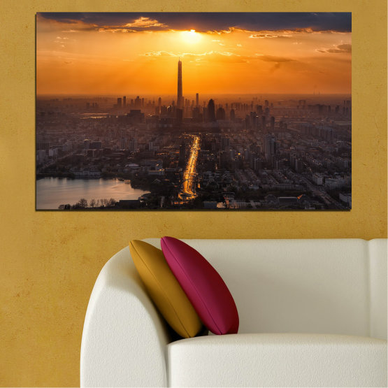 Canvas prints & wall decorative panels - 1 piece №0709 » Orange, Brown, Black, Dark grey » Landscape, City, Sky, Skyscraper, Panorama, Architecture, Cityscape, Clouds, Building, Town, Tower Form #1